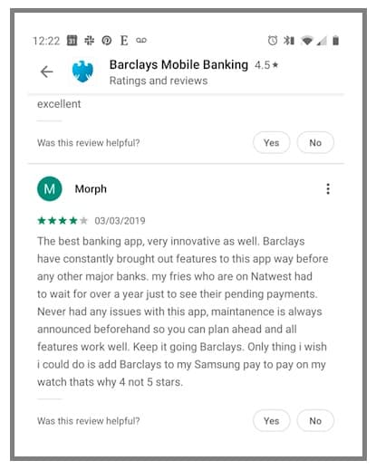 Barclays Moblile Banking app reviews are positive